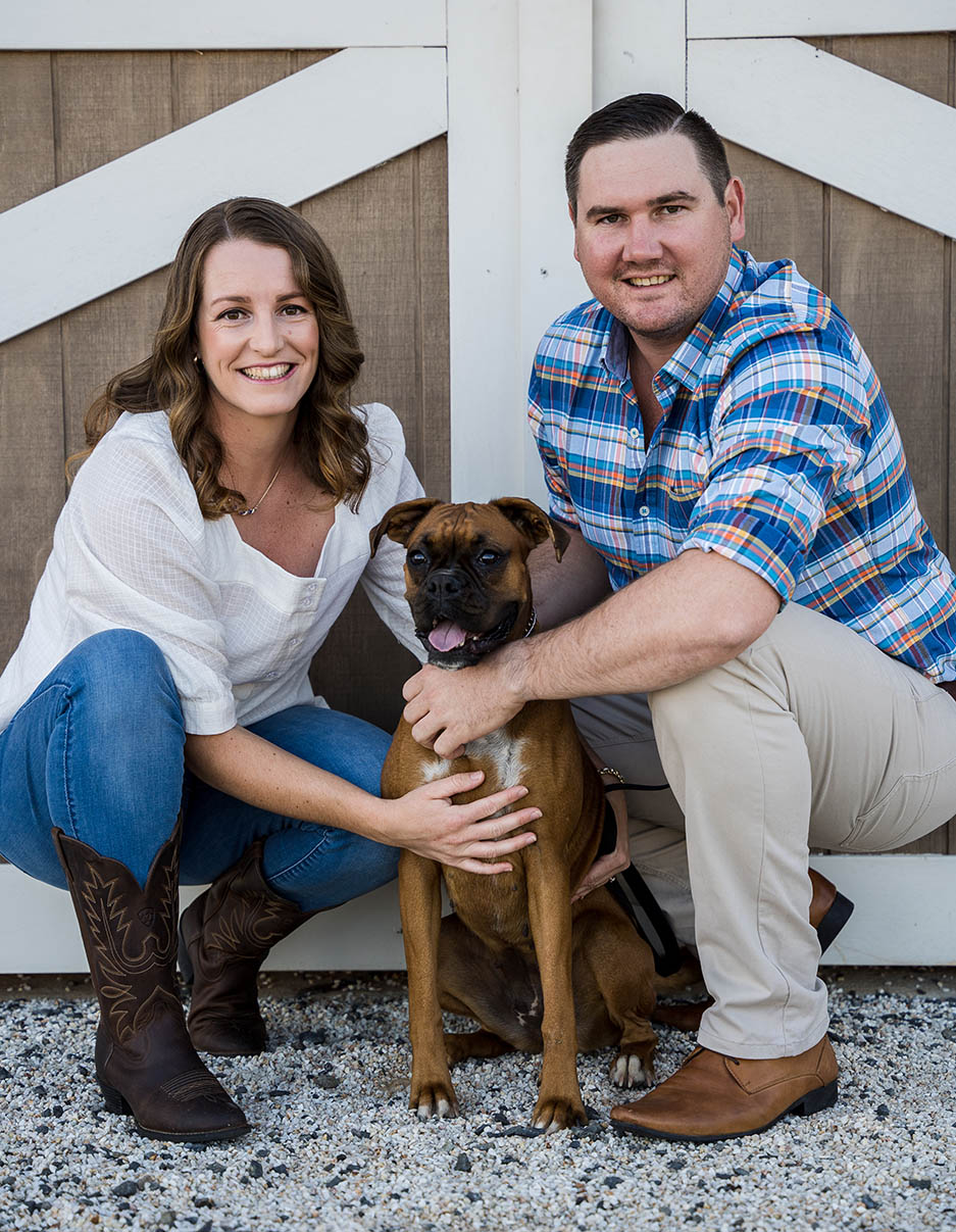 Engagement Photography - couple with dog in front of barn