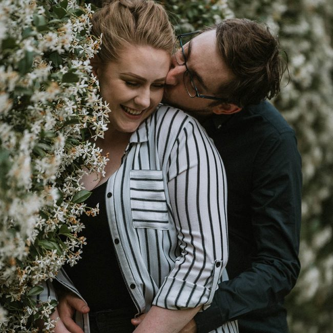 Engagement Photography - couple embracing in park