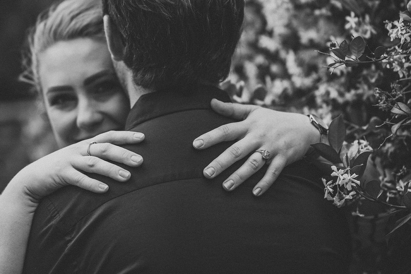 Engagement Photography - close up of hand with ring black and white