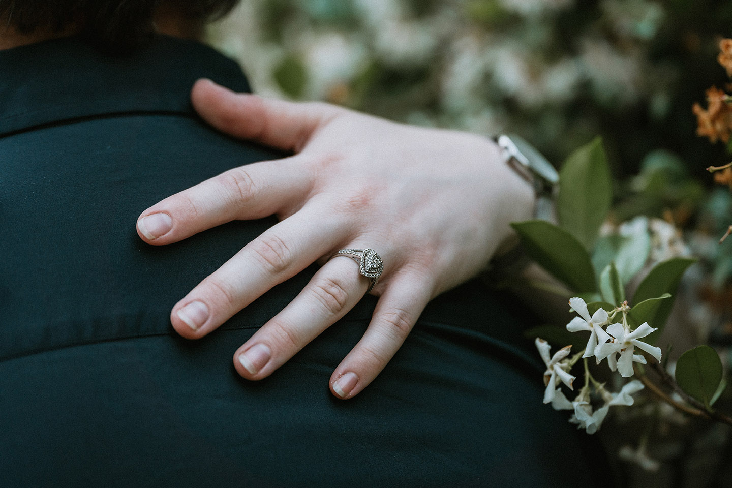 Engagement Photography - close up of hand with ring