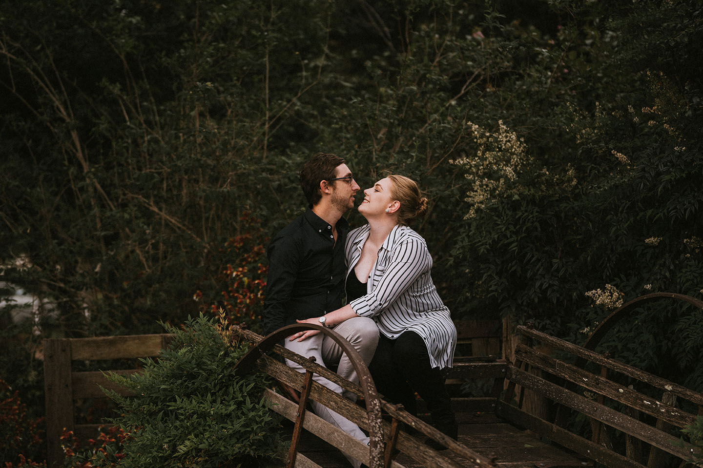 Engagement Photography - couple on old cart