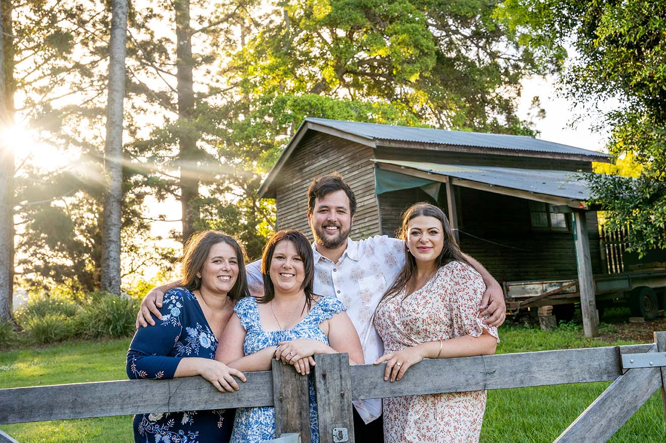 Family Photo - Family in front of rustic shed