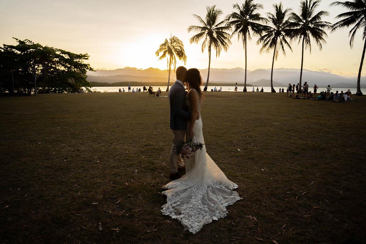 Destination Wedding Photography - embracing at sunset