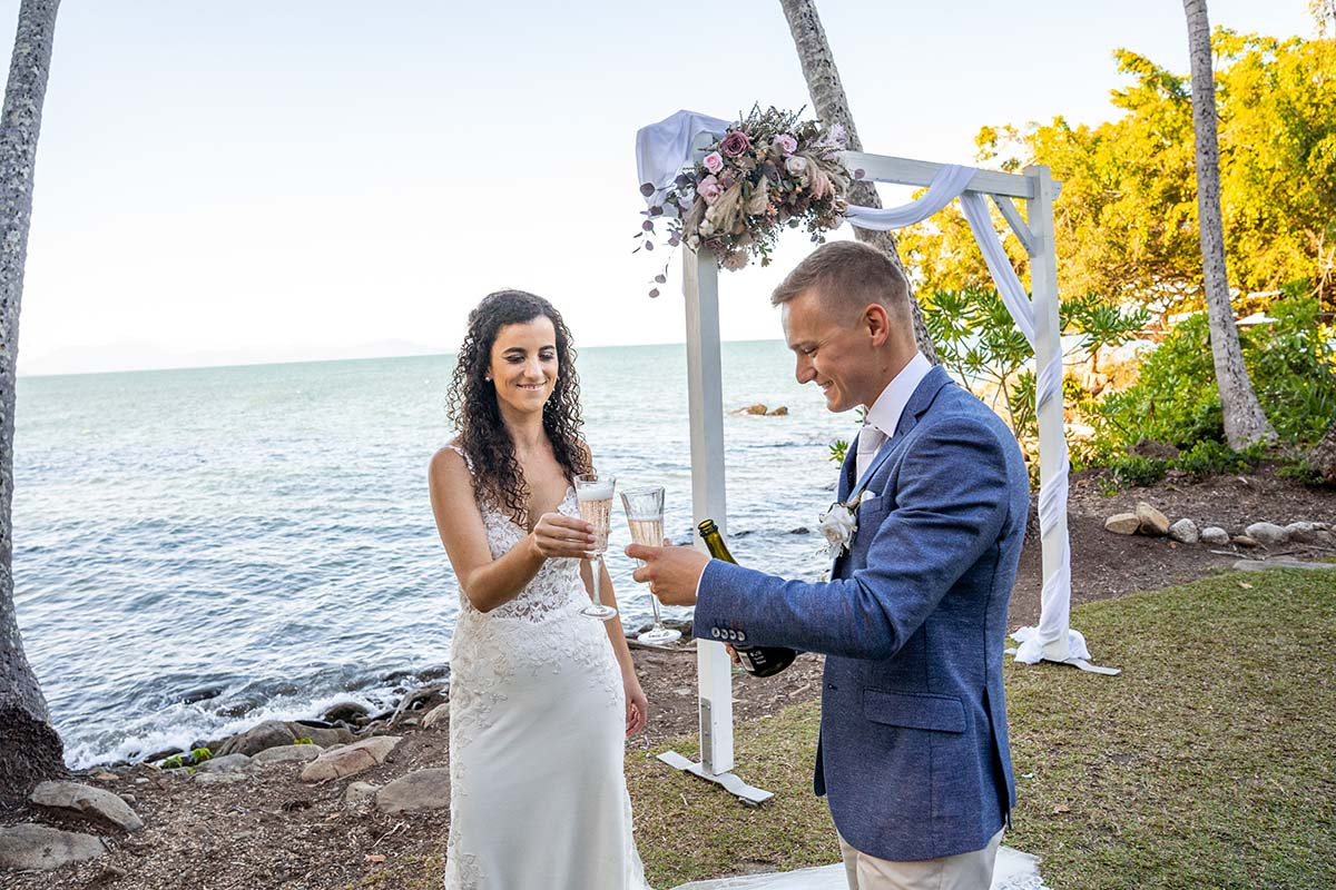 Destination Wedding Photography - toasting with champagne