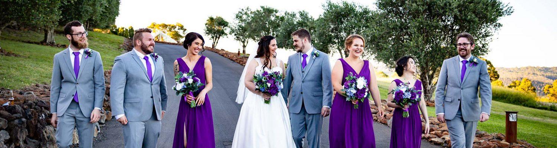 Chris and Lucinda Wedding Photography - bridal party walking large
