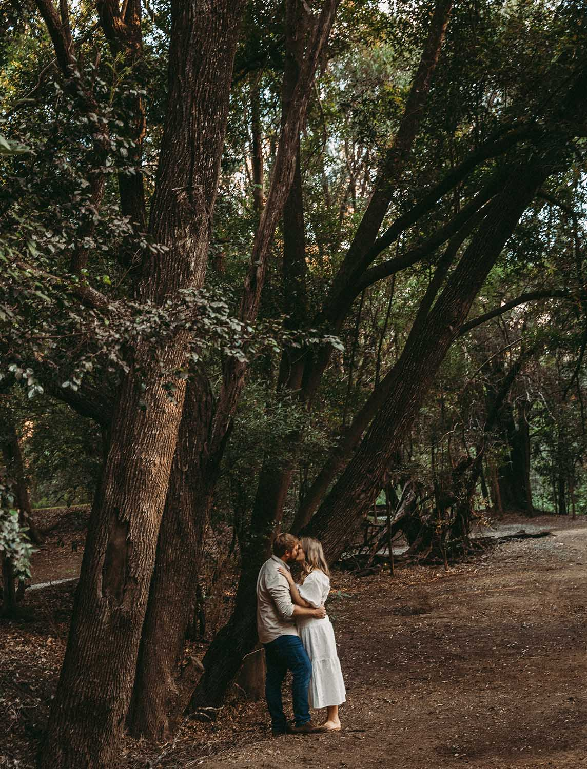 Engagement Photography - Couple kissing under tree