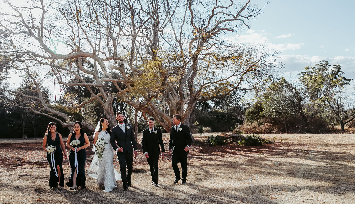 Wedding Photography bridal party walking together
