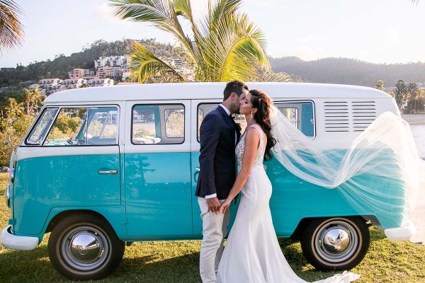 Wedding Photography - embracing in front of the Kombi