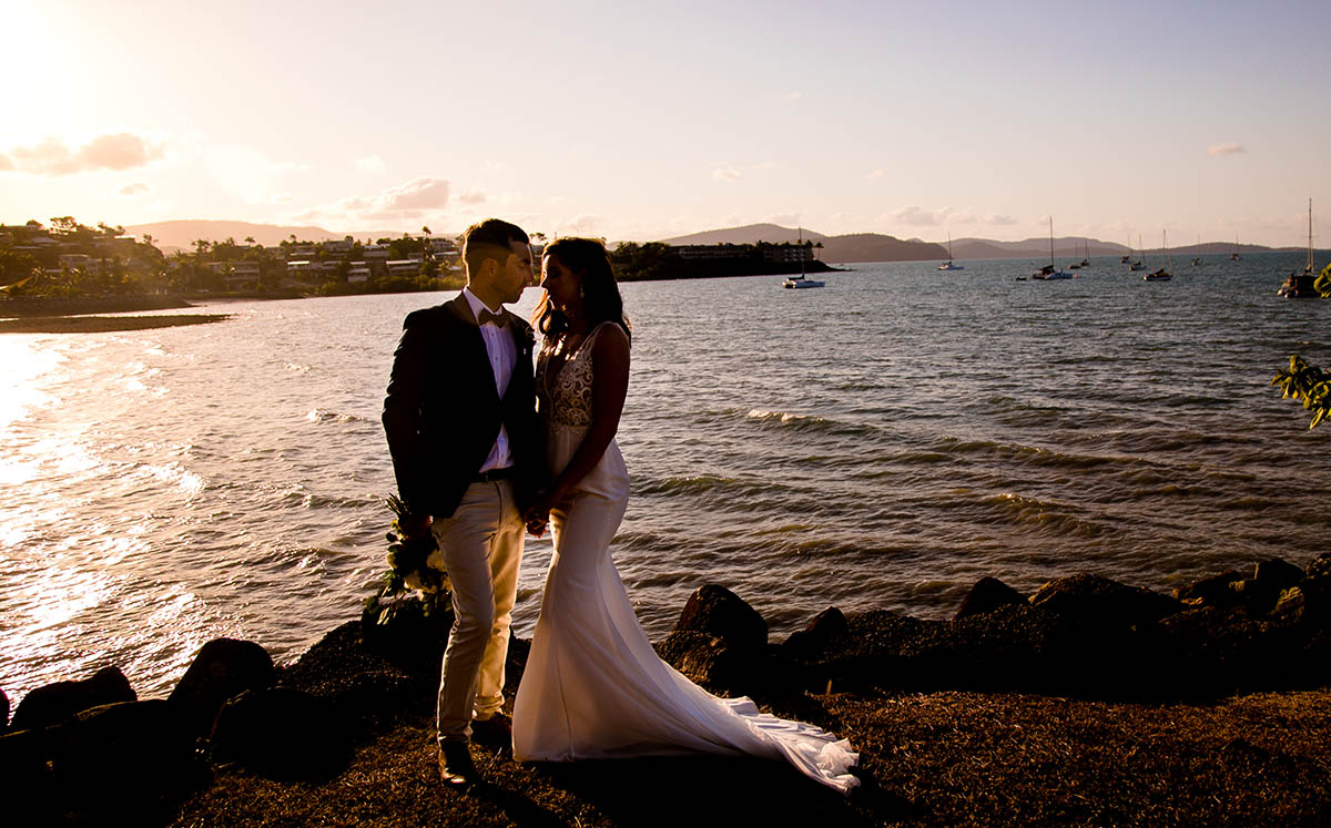 Wedding Photography - sunset in front of the water