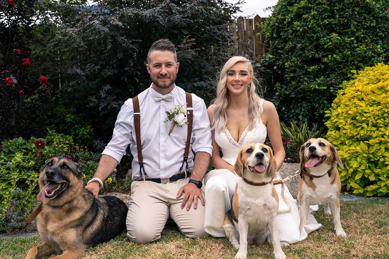 Wedding Photography - couple with dogs