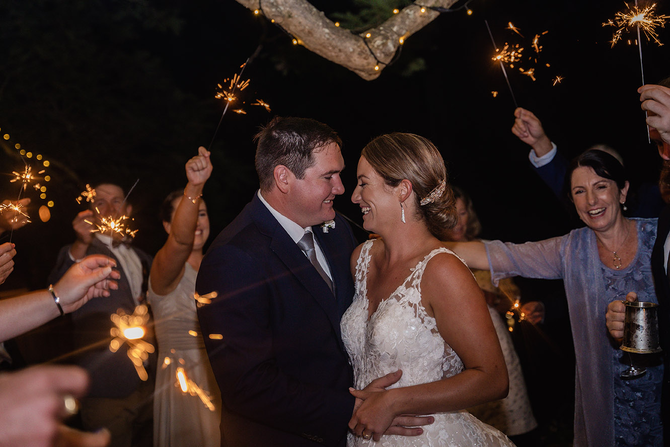 Wedding Photography - sparklers behind couple