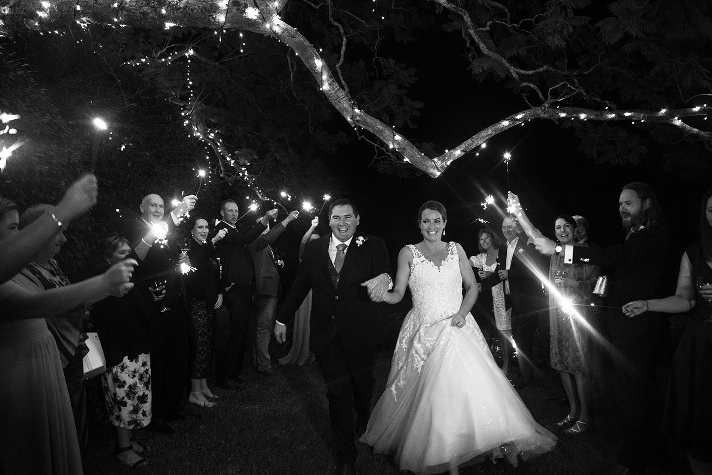 Wedding Photography - black and white sparklers