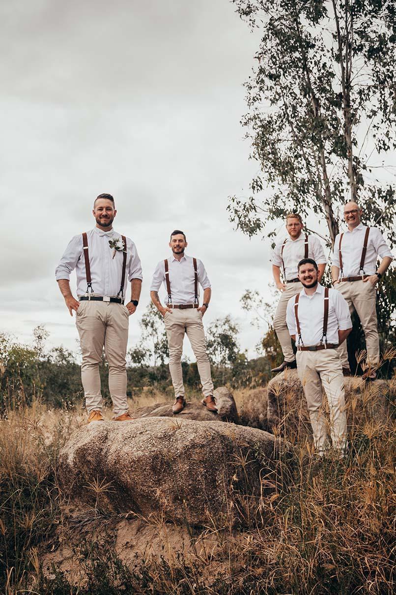 Wedding Photography - groomsmen on rocks