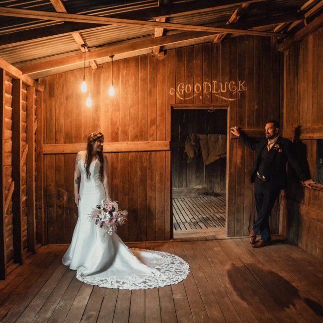 Wedding Photography Bride and groom in rustic room
