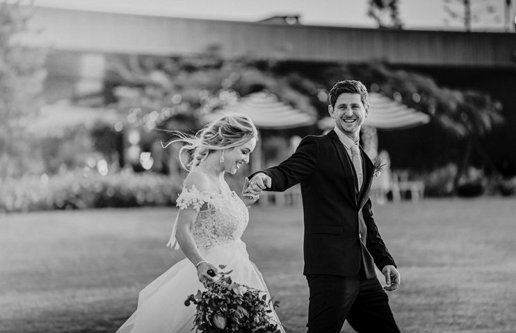 Wedding Photography - Black and White holding hands