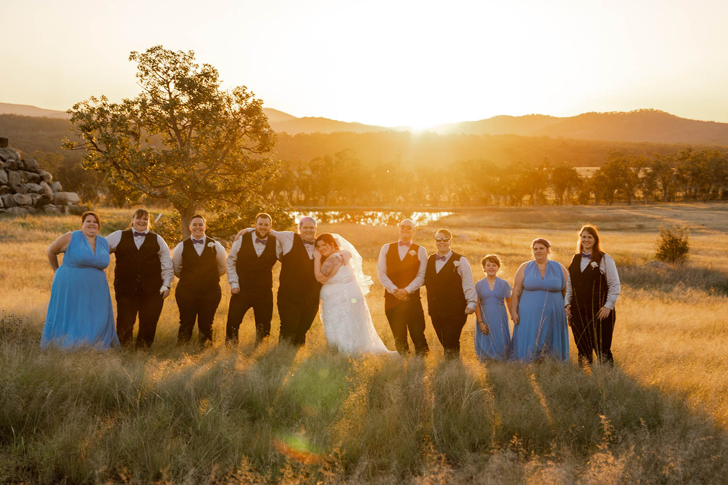 Wedding Photography - Bridal party at sunset
