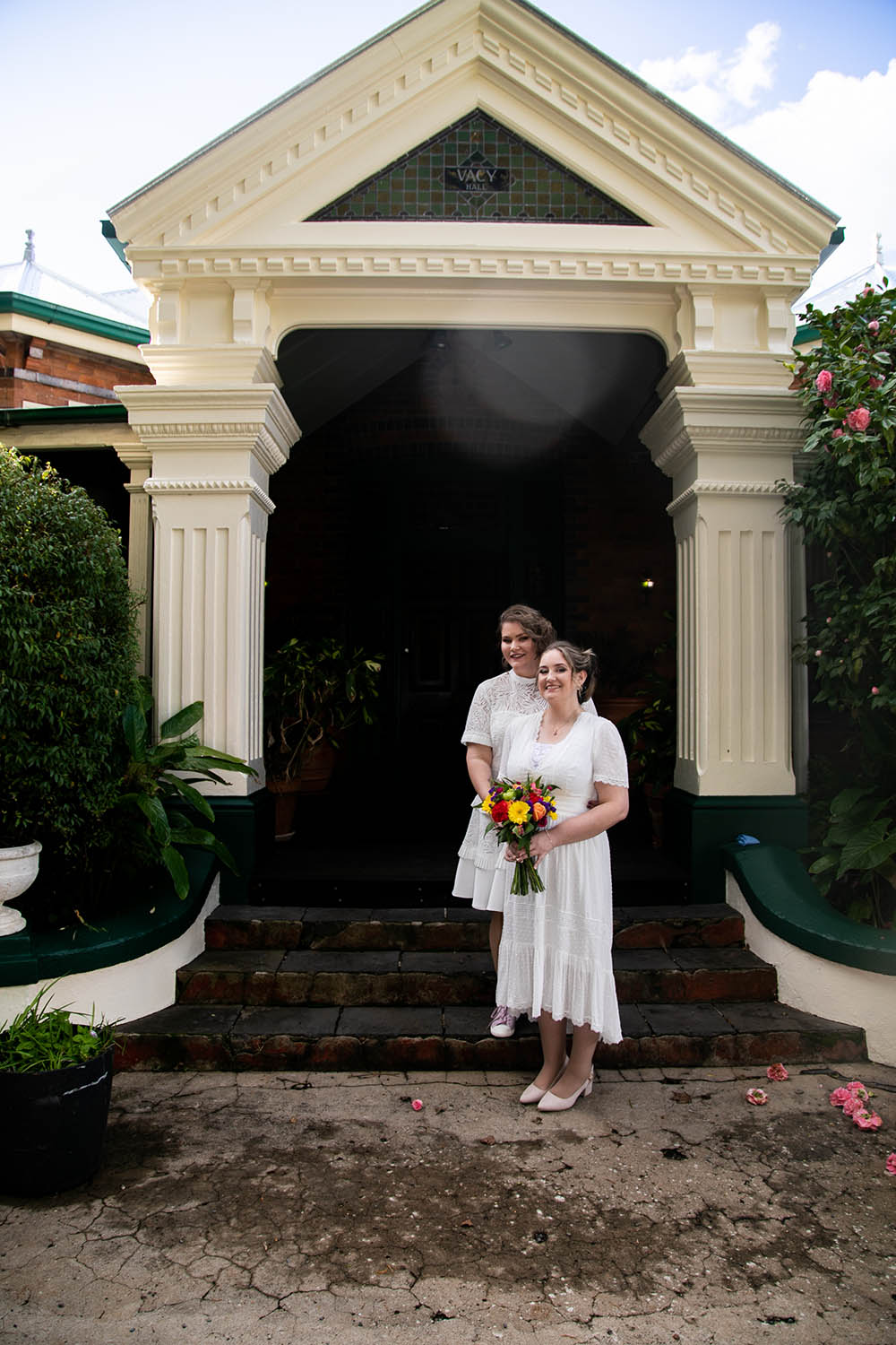 Wedding Photography - Brides in front of old building