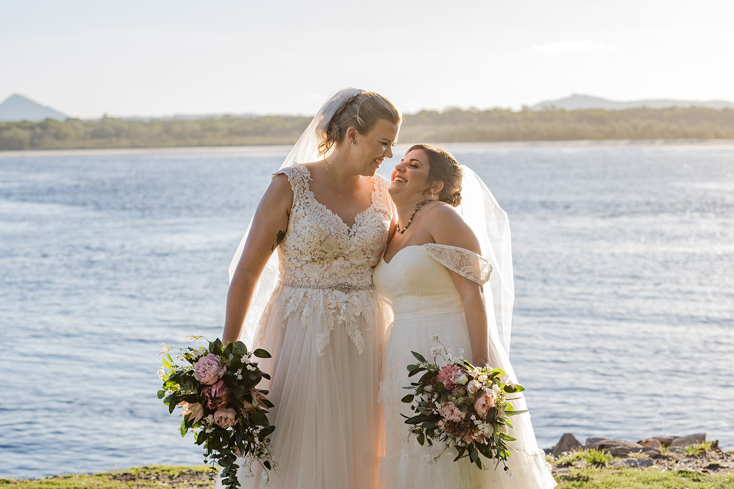Wedding Photography - Brides in front of water