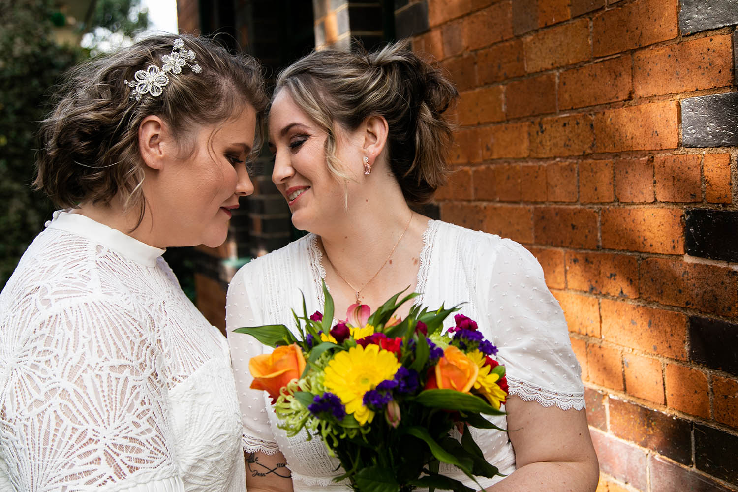 Wedding Photography - Brides with rainbow flowers