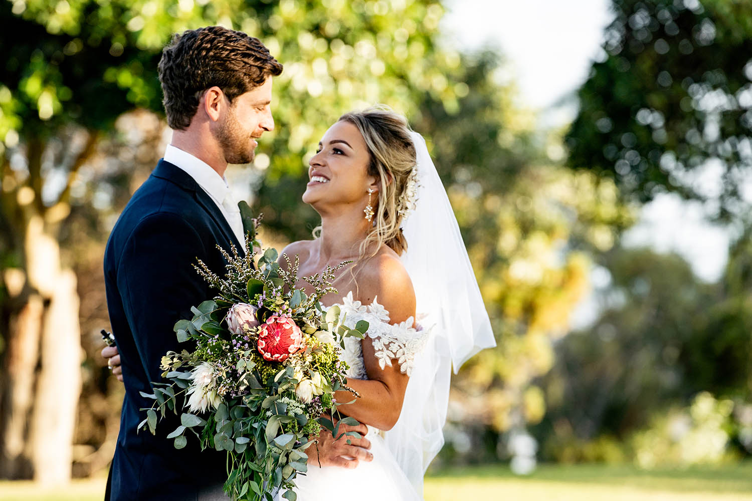 Wedding Photography - Couple with boquet