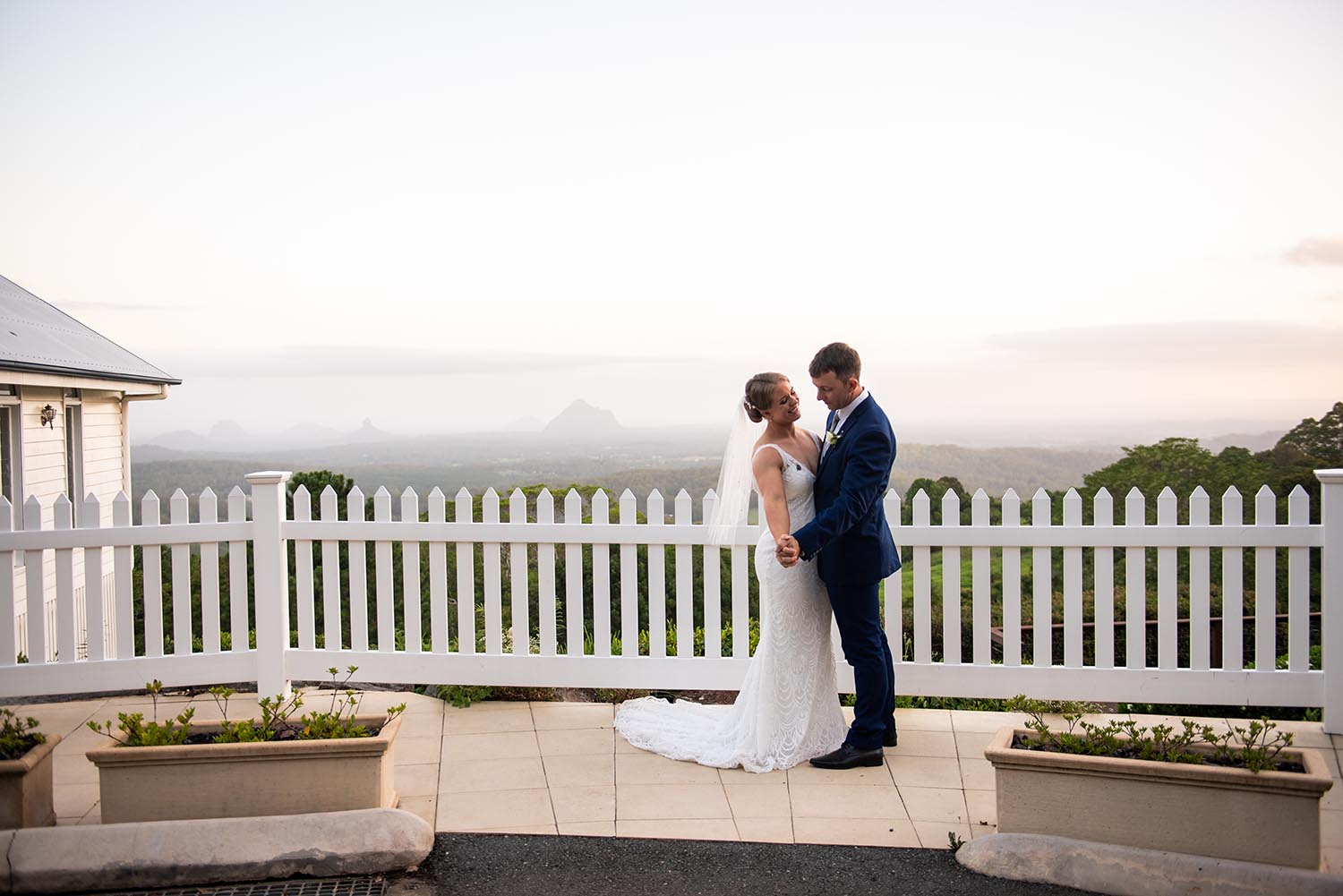 Wedding Photography - Couple with misty mountain view
