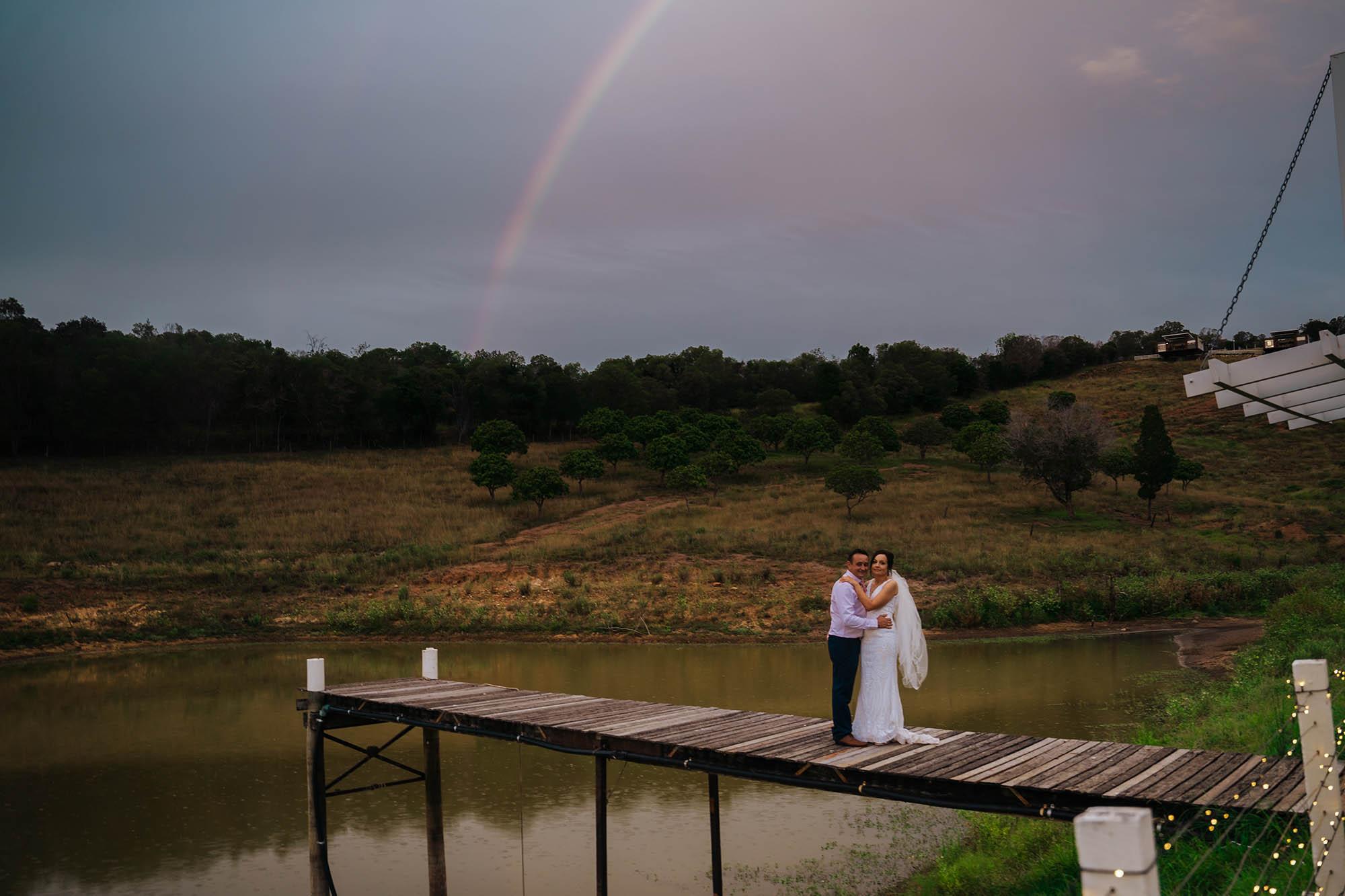 Wedding Photography Rainbow over bridge