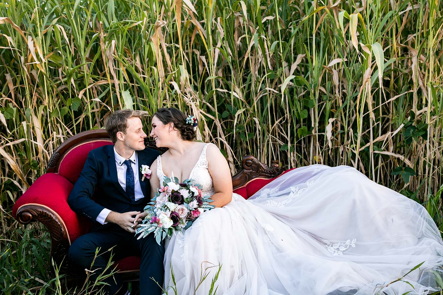 Wedding Photography - Red Chair in field