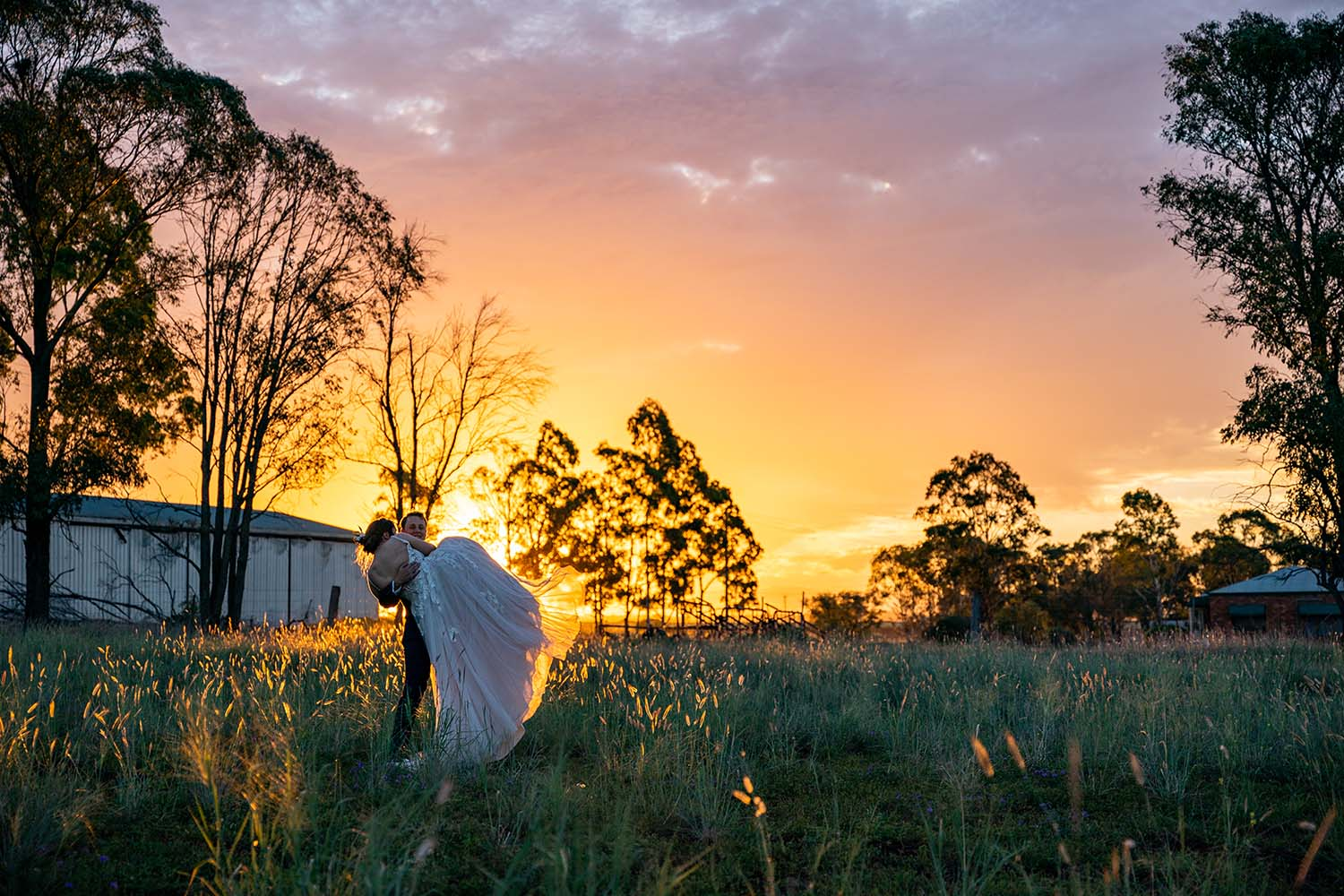Wedding Photography - Sunset in the field