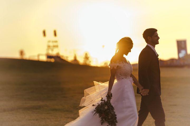 Wedding Photography - Walking at Sunset