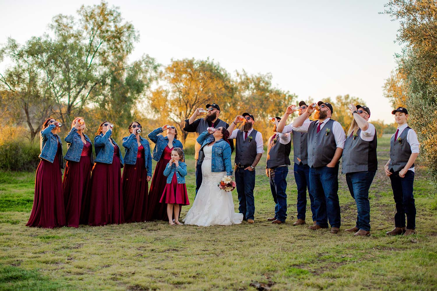 Wedding Photography - bridal party drinking a beer