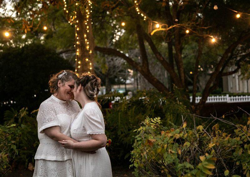 Wedding Photography - brides under twinkle light