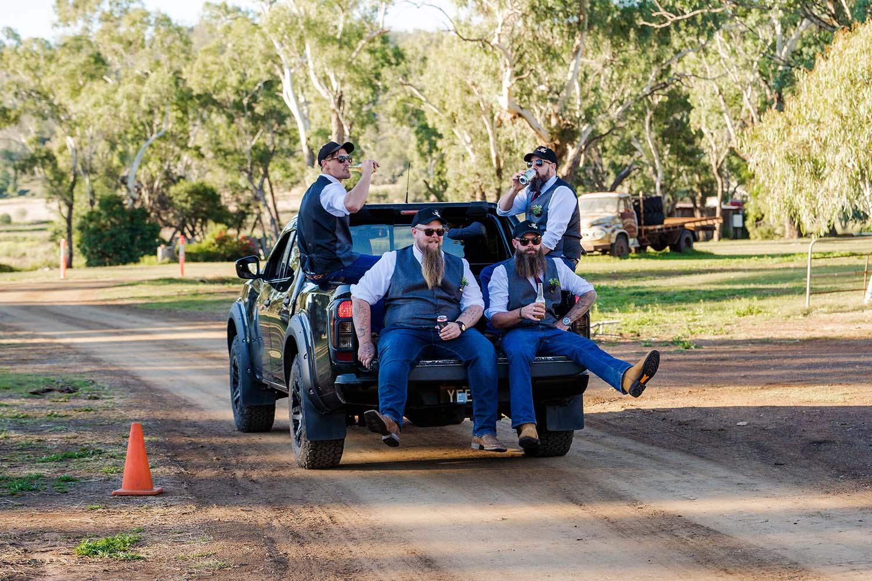 Wedding Photography - groomsmen on ute