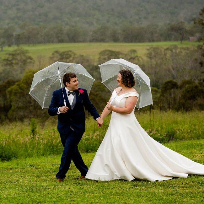 Wedding Photography - walking with umbrella