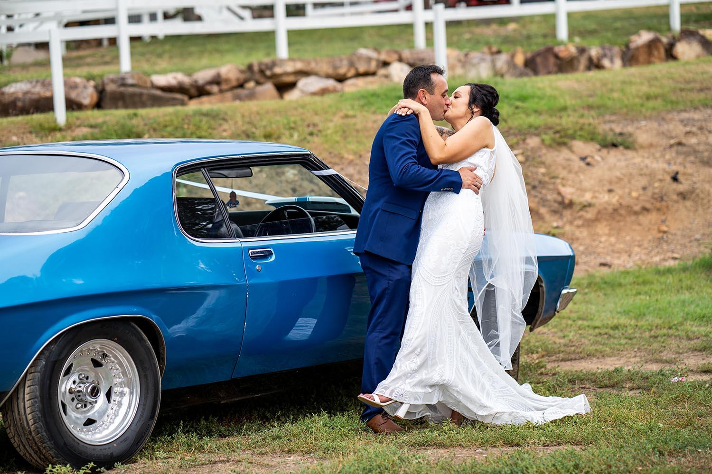 Wedding Photography - Bride & Groom with car