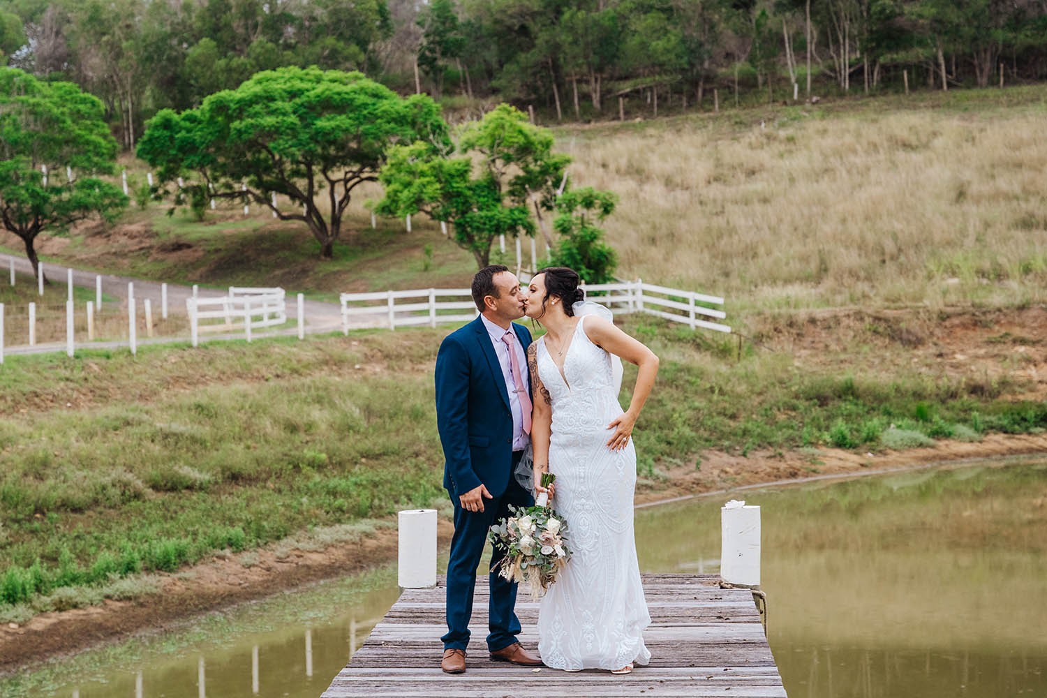 Wedding Photography - Couple in front of dam