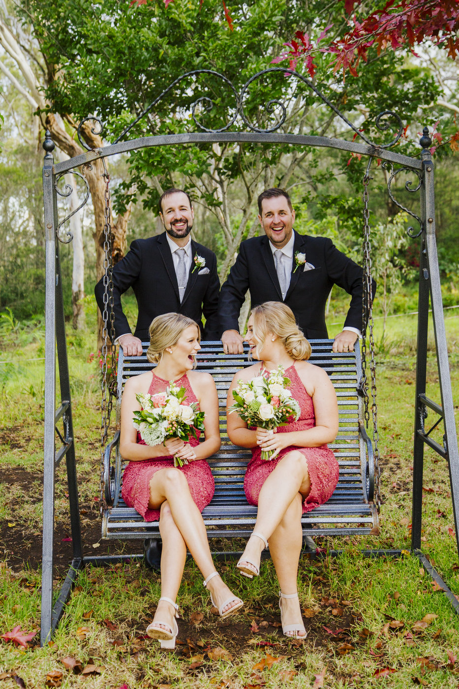 Wedding Photography bridal party on swing