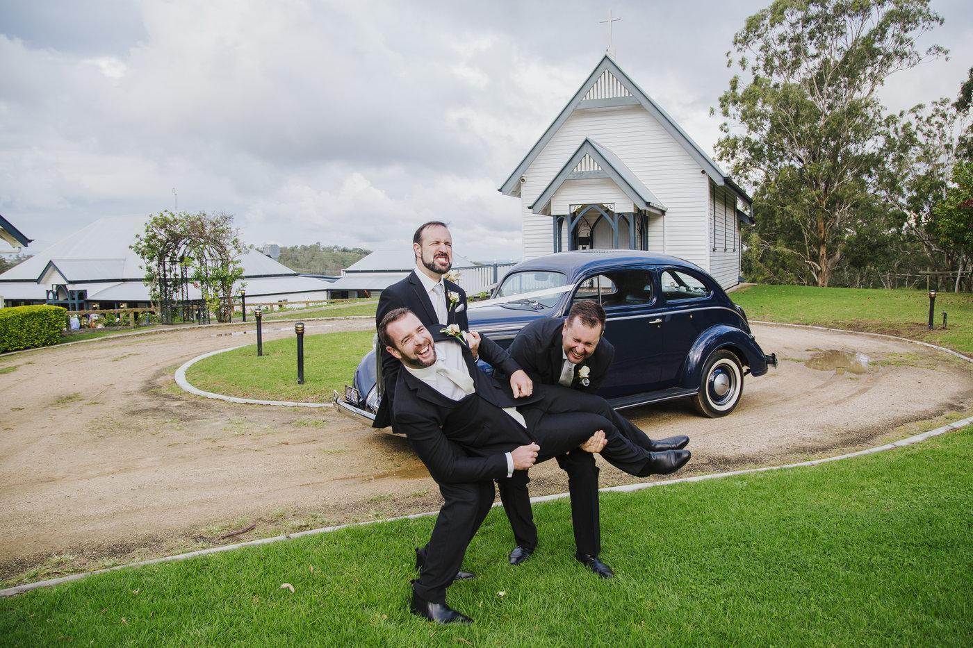 Wedding Photography groom with groomsmen