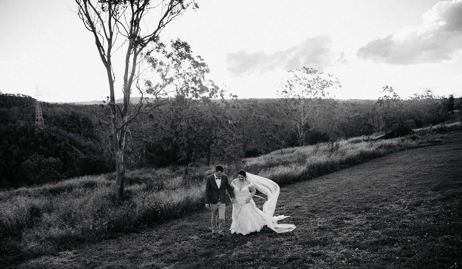 Wedding Photography - Black and white in field