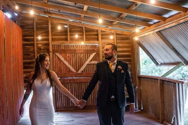 Wedding Photography - Bride and Groom in rustic shed