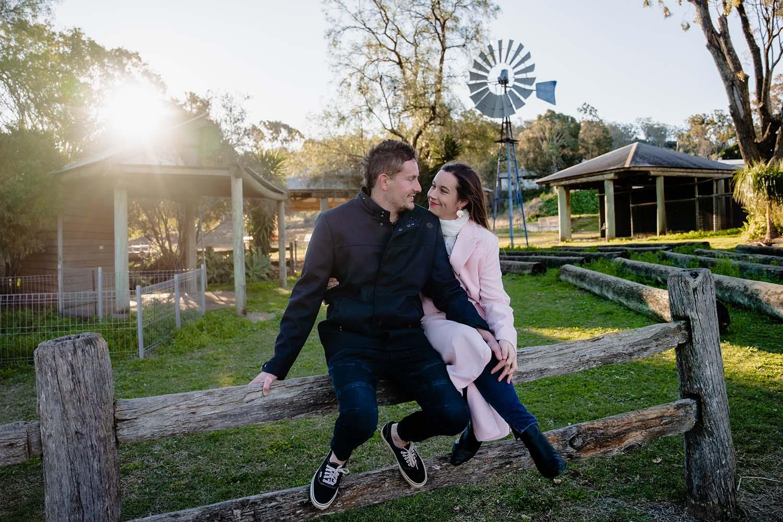 Engagement Photography - Couple on fence