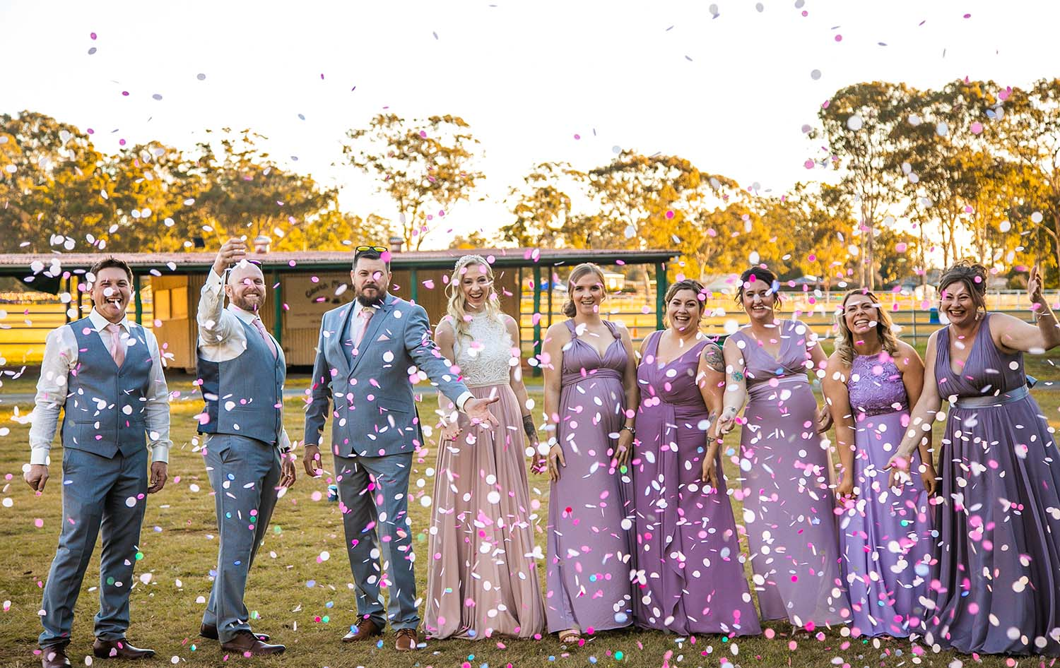 Wedding Photography – bridal party with confetti